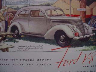 1937 Ford Flathead V8 60 HP 27 MPG Tudor Sedan Poster