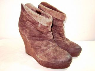NEW Boutique 9 Becchia Brown Suede Wedge Ankle Boots Booties Womens 8