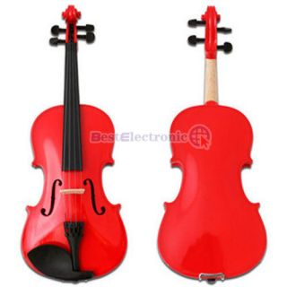 New 4/4 Full Size Red Acoustic Violin + Case Bow Rosin
