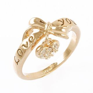 18K GP Bow Tie Heart Love You Ring Swarovski Crystal R713G All Size
