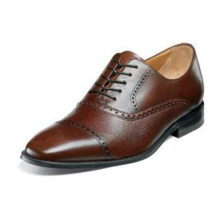 Brass Boot Mens Chauncey Cap Toe Dress Shoes Cognac Brown Leather