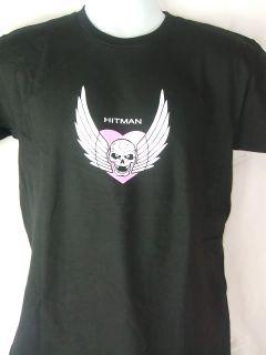 Bret Hitman Vintage Logo Autograph Black T Shirt New