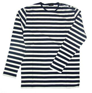 Breton Top T Shirt Navy Blue White Stripes Long Sleeve
