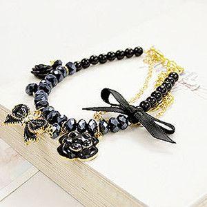 Girls Black Butterfly Flower Bow Fake Pearl Bracelet