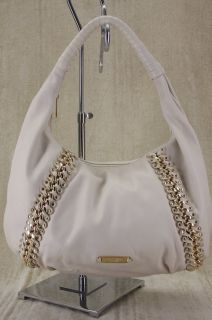 Kors ID Chain Large Vanilla white Leather Hobo Bag Gold Studded