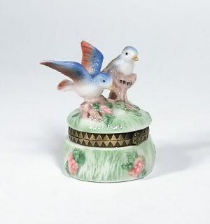 Blue Birds Porcelain Hinged Trinket Box Jewelry PHB