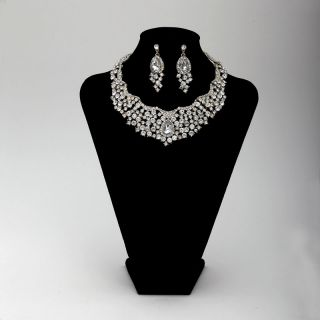 Rhinestones Choker Wedding Bridal Jewelry Necklace Earrings Set