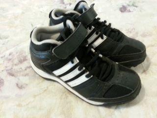 Boys Adidas Shoes 1.5 (1 1/2) Black White Cleats Baseball Football