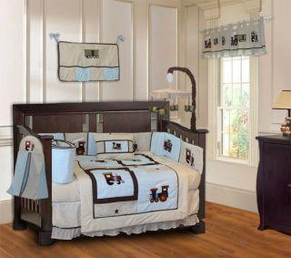 Baby Boy Train Themed Crib Bedding Set 9pc Mobile