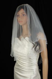 Wedding Veil Bridal Bride Two Tier Ivory Fingertip Scalloped Crystal