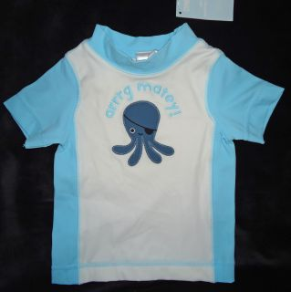 Gymboree Boys Blue White Arrrg Matey Octopus Rash Guard Swim Shirt 3 6