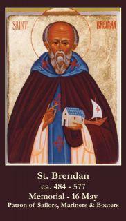 St Brendan Holy Prayer Card Sailors Boaters Mariners