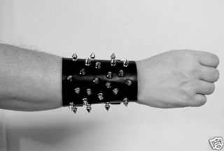 Spiked Leather Bracelet Wristband Death Black Metal