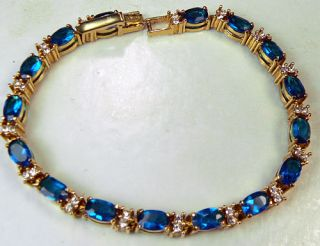Vintage Avon Signed Blue Sapphire Glass Rhinestone Tennis Bracelet