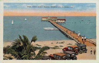 Bradenton Anna Maria Island Florida FL 1940s Beach & Pier Vintage