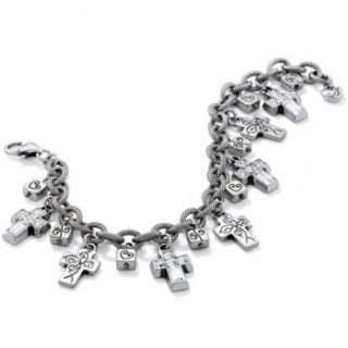 Brighton Purity Crystal Cross Charm Bracelet New Stores Stunning RT $