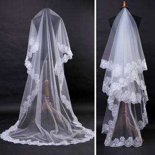 ivory Lace Edge Bridal Accessories CATHEDRAL WEDDING VEILS 2 7M 106 3