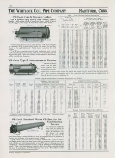 Whitlock Coil Pipe 1940 Ad Storage Heaters Water Chillers Steam Boiler