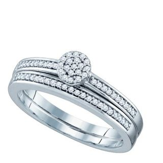 Diamond Bridal Set Wedding Ring 0 20 Ct Round Cut 10K White Gold 64690
