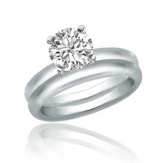00 Carat Round Cut Diamond Bridal Set in 14k White Gold