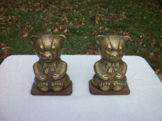 Brass Bear Bookends Vintage Solid Brass Leonard Silver Mfg