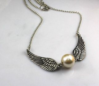 potter Golden Snitch necklace Silver Double wings antiqued brass chain