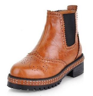Ladies Western Rivet Studs Punk Chelsea Brogue Ankle Boots 366
