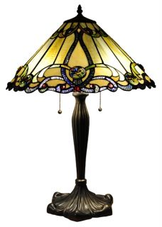 Handcrafted Victorian Styled Tiffany Style Stained Glass Table Lamp w