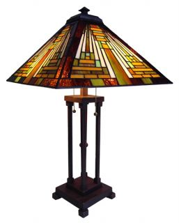 Handcrafted Mission Styled Tiffany Style Stained Glass Table Lamp w 16