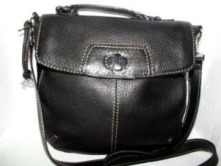 FOSSIL Soft Black Glove Leather Twist/Turn Lock Crossbody Messenger