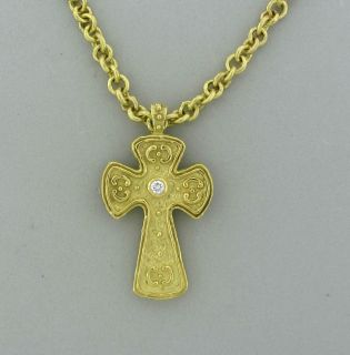 Estate Katy Briscoe 18K Yellow Gold Diamond Cross Pendant Necklace