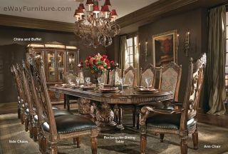 Double Pedestal Hardwood Dining Table Chairs Dining Room Furniture Set