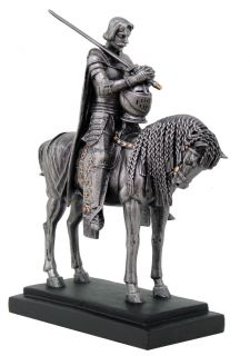Honour Medieval Knights with Sword and Shield Horse Statue Collection