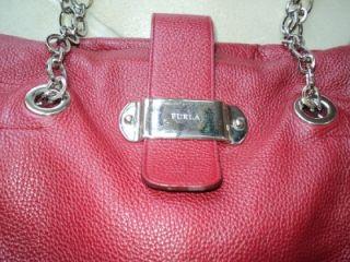 Furla Large Red Pebble Leather Handbag Purse Dual Shoulder Straps