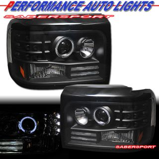 92 96 Ford Bronco F150 Halo Angel Eyes Projector Headlights Black LED