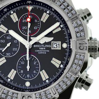 Breitling Super Avenger Black A13370 2 Ct Diamond Bezel Authentic