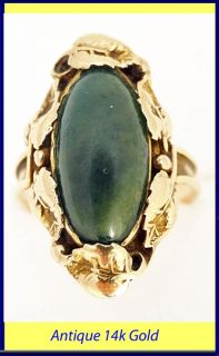 Antique / Vintage Ring 14k Gold Jade Art Nouveau / Deco Foliage (#5164
