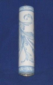 Brewster 107B03254 Blue White Floral Urn Scroll Vinyl Wallpaper