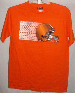 Cleveland Browns Football Mens T Shirt Browns Sideways Logo Orange