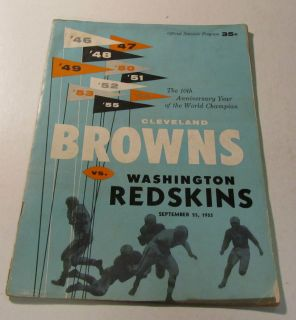 1955 Cleveland Browns Washington Redskins NFL Football Program Otto