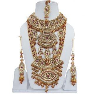 Magenta CZ Gold Tone Bridal Necklace Set Indian Wedding Jewelry