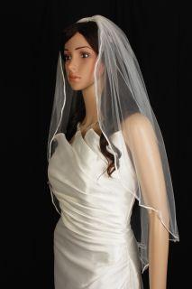 Bridal Veil Wedding New 1T Diamond Off White Elbow Crystal Scalloped