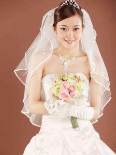 White Wedding Veil 2T Elbow Ribbon Rhinestones V19FW 2