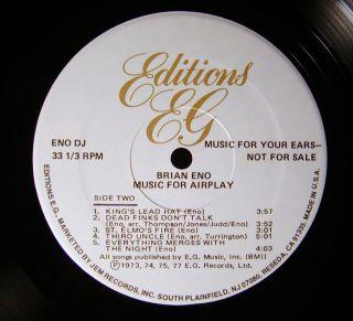 Brian Eno Music for Airplay RARE 1980 White Label Promo E G Records LP