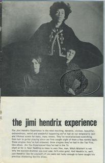 JIMI HENDRIX DENNY LAINE PROCOL HARUM 1967 Tour Concert Program