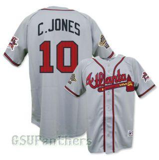 Chipper Jones Atlanta Braves 1995 World Series Grey Road Jersey Sz M