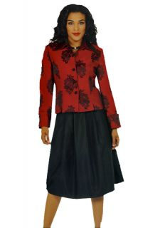 Chancelle 11845 Womens Red Black Church Dress Skirt Jacket Suit Size