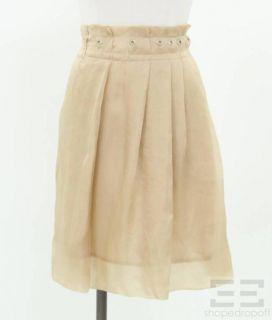 Brunello Cucinelli Champagne Cotton & Silk Grommet Trim Pleated Skirt