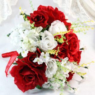 10 Bridal Bouquet White Red Rose Wedding Silk Flower