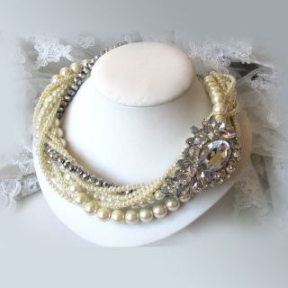 Gorgeous Handmade Bridal necklace,Ivory pearl crystal twisted necklace